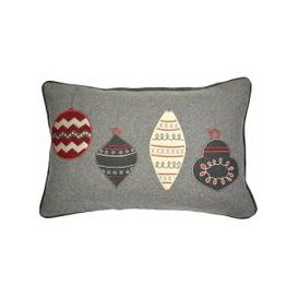 image-Christmas Baubles Red & Grey Cushion