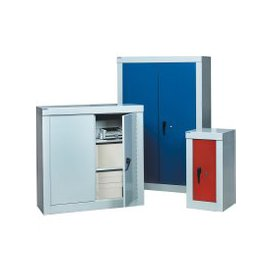 image-QMP Security Cupboards, 2 Shelf - 90wx46dx120h (cm), Light Grey, Free Standard Delivery