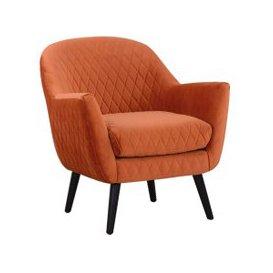 image-Libra Ellison Orange Velvet Quilted Occasional Chair