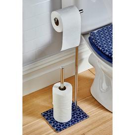 image-Beldray Geometric Navy Toilet Roll Holder