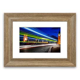 image-'London Night Lights' Framed Photograph East Urban Home Size: 30 cm H x 40 cm W, Frame Options: Teak