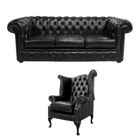 image-Seligman Chesterfield 2 Piece Leather Sofa Set Rosalind Wheeler Upholstery Colour: Old English Black