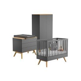 image-Vox Nature Cot Bed 3 Piece Nursery Set in Dark Grey & Oak