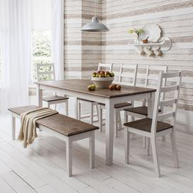 image-Canterbury Dining Table with 5 Chairs & Bench