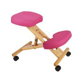 image-Wood Framed Kneeling Chair, Pink