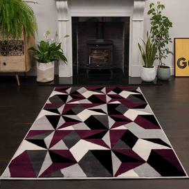image-Purple Grey Modern Geometric Living Room Rugs - Milan