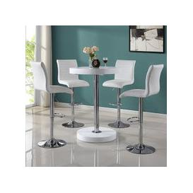 image-Havana Round Bar Table In White With 4 Ripple Bar Stools
