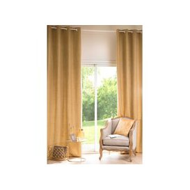 image-Simple Curry Yellow Fabric Eyelet Curtain 130x300