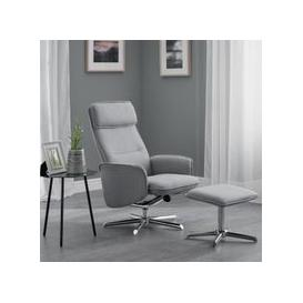 image-Alden Fabric Recliner Chair With Foot Stool In Grey Linen