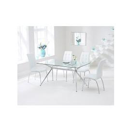 image-Mark Harris Salento 150cm Glass Dining Set - 4 California White Chairs