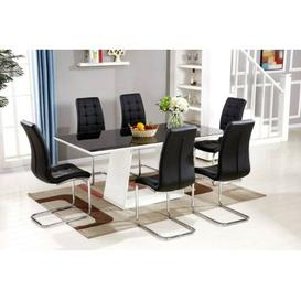 image-Trapp High Gloss Glass Dining Set with 6 Chairs Metro Lane