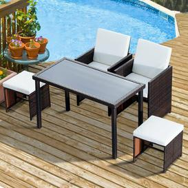 image-5 Piece 4 Seater Dining Set Sol 72 Outdoor Finish: Brown