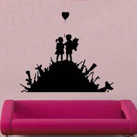 image-Banksy Boy,Girl & Balloon Decal Vinyl Wall Sticker