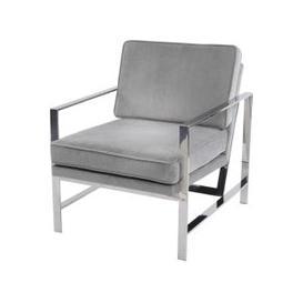 image-Libra Chrome Frame Occasional Chair Grey Velvet