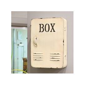 image-Hazel Metal Key Box In Antique White With Door
