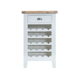 image-Lighthouse Oak Top 1 Drawer Wine Cabinet - White