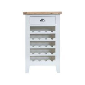 image-Lighthouse Wine Rack Oak & White 5 Shelf 1 Drawer
