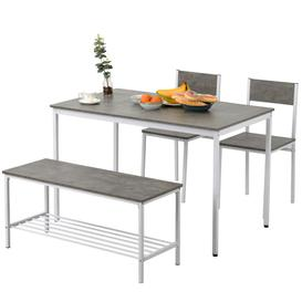 image-Dining Table, Chair And Bench Set 4 Wooden Steel Frame Industrial Style Retro Kitchen Dining Table Set