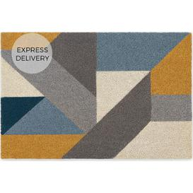 image-Holden Large Coir Doormat 60 x 90cm, Blue and Yellow