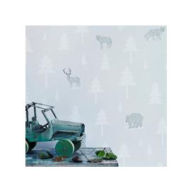 image-Kids Wallpaper Into the Wild Design in Arctic White & Taupe