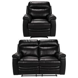 image-Argos Home Paolo Chair & 2 Seater Manual Recline Sofa -Black