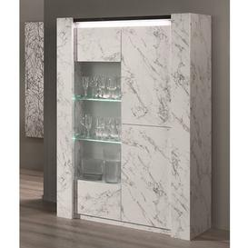 image-Attoria LED 2 Door Display Cabinet Black And White Marble Effect