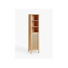image-John Lewis & Partners Chevron Tallboy Bathroom Cabinet, Natural