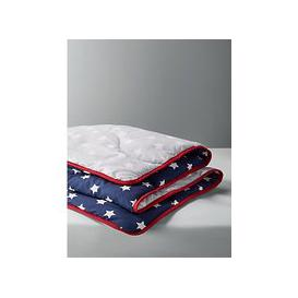 image-little home at John Lewis Children's Stars Printed Duvet, Navy/Grey, 7 Tog