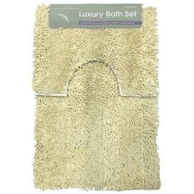 image-Chunky Heavy Loop 2 Piece Rectangle Bath Mat Set Symple Stuff Colour: Cream