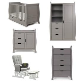image-Stamford Cot Bed 5-Piece Nursery Furniture Set Obaby Colour: Taupe Grey