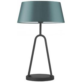 image-Heathfield Coupole Black Satin Medium Table Lamp with Dark Teal Satin Shade