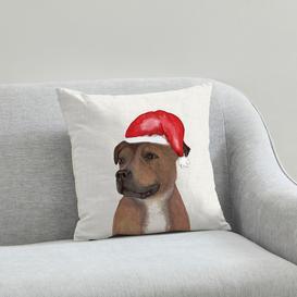 image-Staffy Christmas Hat Cushion Natural