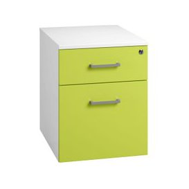 image-Solero Low Mobile 2 Drawer Pedestal (Green), Green, Free Standard Delivery