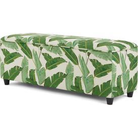 image-Burcot Upholstered Storage Bench, Leaf Print