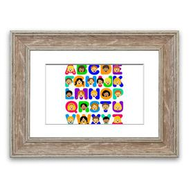 image-'Alphabet Children' Framed Graphic Art in White East Urban Home Size: 70 cm H x 93 cm W, Frame Options: Walnut