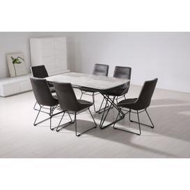 image-Vida Living Nero Grey Extending Rectangular Dining Table - 160cm-200cm