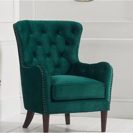 image-Wingback Chair Willa Arlo Interiors Upholstery Colour: Green