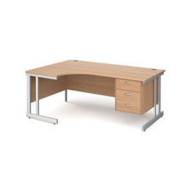 image-Tully II Left Hand Ergonomic Desk 3 Drawers, 180wx120/80dx73h (cm), Beech, Free Next Day Delivery