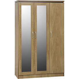 image-Charles 3 Door All Hanging Wardrobe in Oak Veneer with Walnut Trim