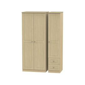 image-Warwick Light Oak 3 Door Triple Wardrobe - Plain with 2 Drawer