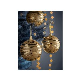 image-NEW Twelve Golden Zebra Shatterproof Baubles