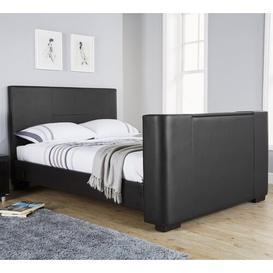 image-Gayle Upholstered TV Bed Wade Logan Colour: Black Faux Leather, Size: Kingsize (5')
