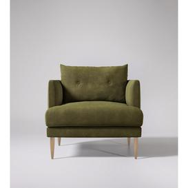 image-Swoon Kalmar Armchair in Racing Green Smart Leather With Light Feet