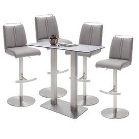 image-Soho Glass Bar Table With 4 Giulia Ice Grey Stools