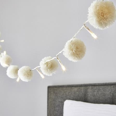 image-White Pom Pom 10 Light String Lights White