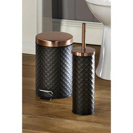 image-Black and Rose Gold Diamond Texture 3L Bin and Toilet Brush Set
