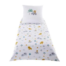 image-Children's White Cotton Animals Print Bedding Set 140X150