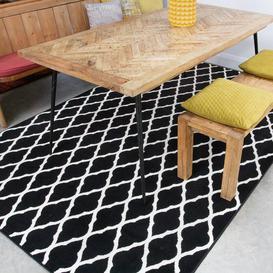 image-Black Moroccan Trellis Living Room Rug - Milan