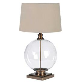 image-Glass Ball Table Lamp, Antique Brass