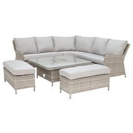 image-Hathaway Corner Garden Dining Set with Ice Bucket in Light Grey Weave and Grey Fabric